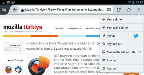 Android için Firefox'ta hızlı paylaş özelliği