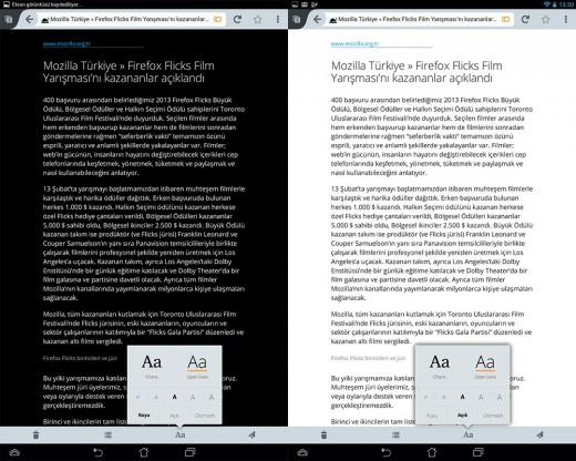Android için Firefox'ta Okuyucu'nun koyu ve açık modları