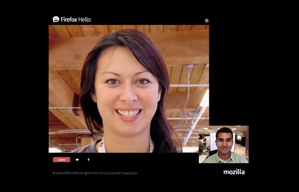Firefox Hello'da görüşme penceresi