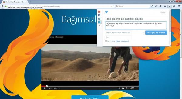 Firefox'un paylaşım penceresi